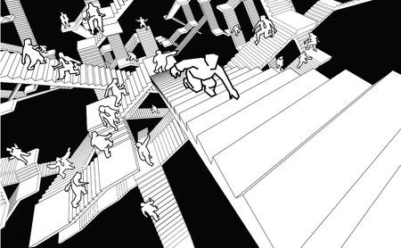 complicación: gente perdida y confundida corriendo hacia arriba y hacia abajo, un laberinto de escaleras de