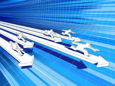 five men riding on fast diagram arrows Vector