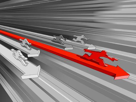 vijf mannen die rijden op snelle diagram pijlen
