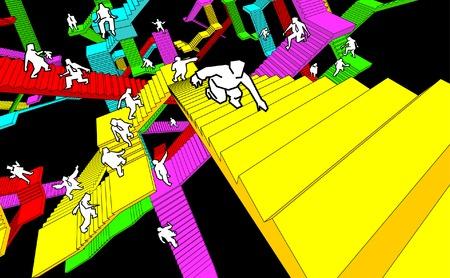 disorganization: labyrinth of stairs Illustration