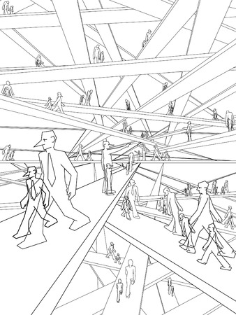 doubled: Schizophrenic businessmen in endless labyrinth of bridges Illustration