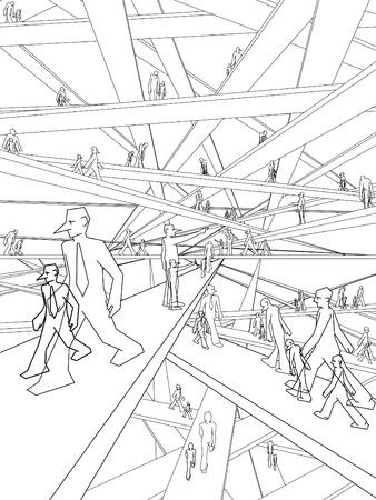 schizophrenic: Schizophrenic businessmen in endless labyrinth of bridges Illustration