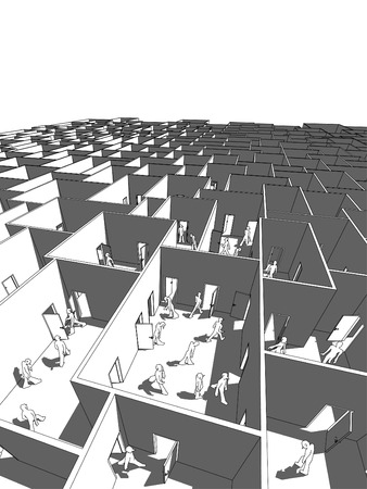 lost and confused people in endless cubical labyrinth