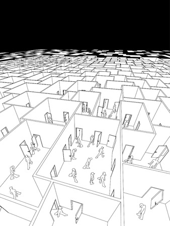 disorganization: lost and confused people in endless cubical labyrinth