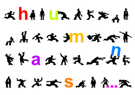 een set van menselijke cartoon silhouetten gerangschikt als een brief kaart of een poster