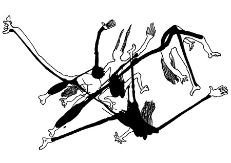 crazy hair: drawing of falling splash people