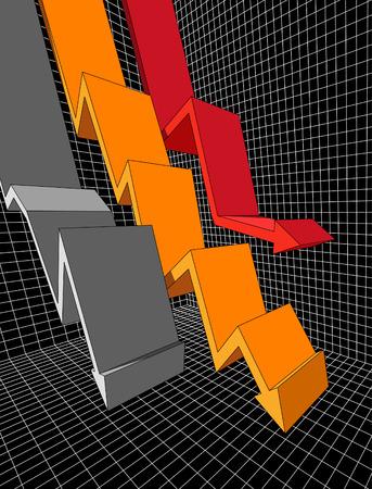 financial emergency: three falling diagram arrows Illustration