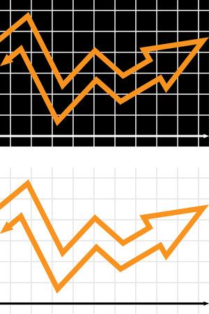 backwards: Business illusie - diagram pijl achteruit gaan Stock Illustratie