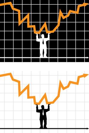 zakenman die diagram pijl last Stock Illustratie
