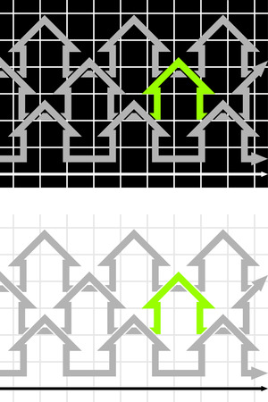 decline in values: green outstanding house in a row of grey houses Illustration