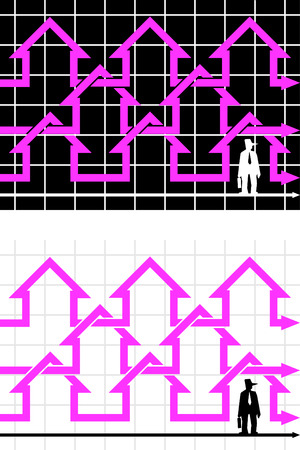 conjuncture: chain of diagram houses and standing businessman Illustration