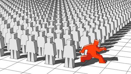 oppose: escaping man Illustration