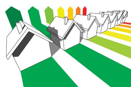 seven houses certified in seven energetic classes  Stock Vector - 6080334