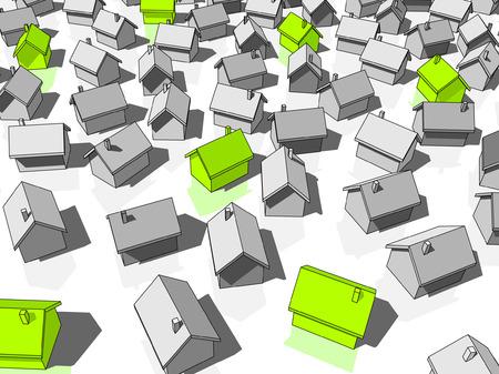 """Groene """" ecologische """" huizen staan uit van anderen  Stockfoto - 6176789"""