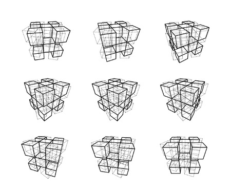 progression: collection of abstract geometric design elements