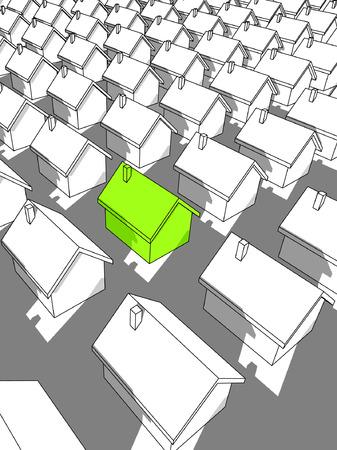 """Groene """" ecologische """" huis staande uit van anderen  Stockfoto - 6461995"""