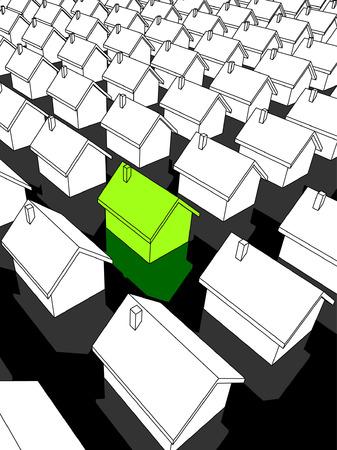 groen ecologische huis staan uit van anderen