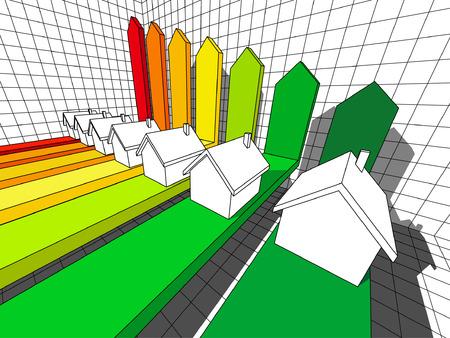 zeven huizen gecertificeerd op energieke klassen in een bedrijfs diagram  Stock Illustratie