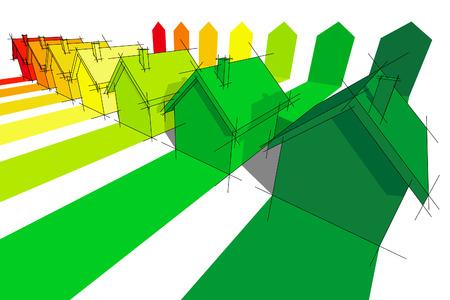 seven houses certified in energetic classes  Vector