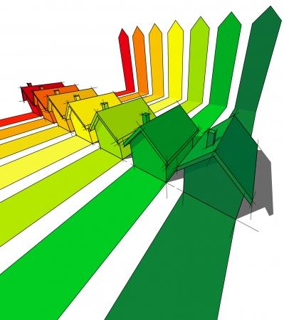 seven houses certified in energetic classes  Stock Vector - 6799685