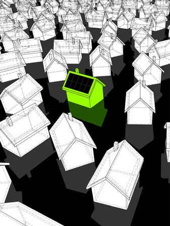 Groene ?ecological? huis met zonne cellen op dak staande uit van anderen  Stockfoto - 6799698