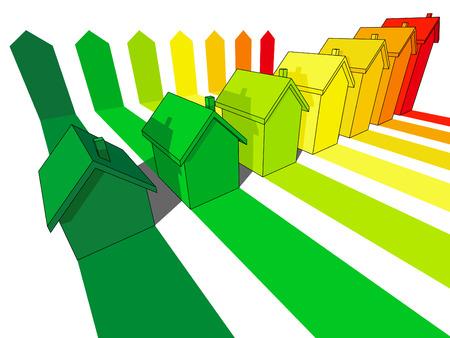 seven houses certified in seven energetic classes  Stock Vector - 7179979