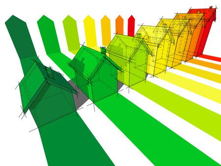 seven houses certified in seven energetic classes Stock Vector - 7179982