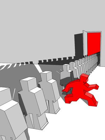 fila de espera: Hombre escapando de la cola