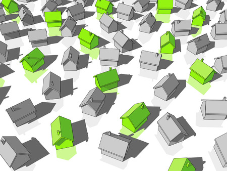 green ecological, houses standing out from others Stock Vector - 7820982