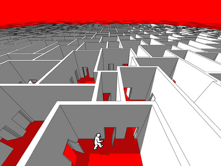 lost in space: Lonely man  in endless cubical labyrinth