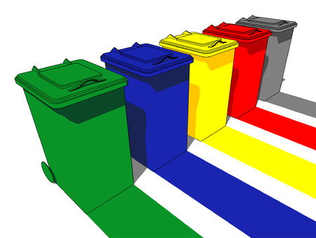 Five trash cans for garbage separation Vector