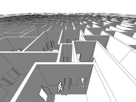 hombre solitario: Hombre solitario en interminable laberinto c�bico