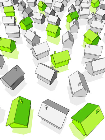 """green """"ecological"""" houses standing out from others Ilustração"""