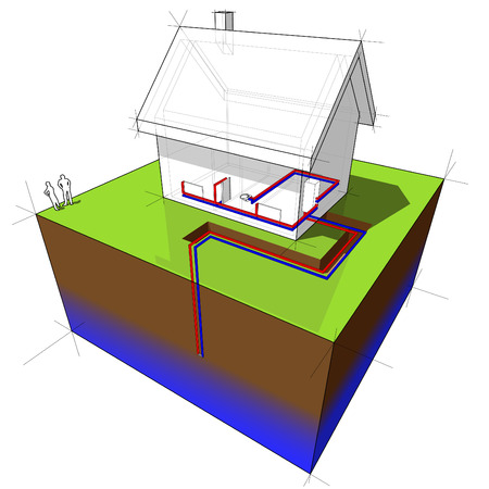 geothermal heat pump diagram Stock Vector - 8583212