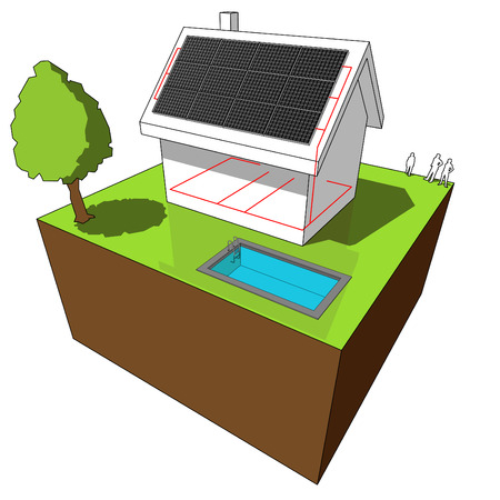 house with solar panels on the roof, with a wire-frame scheme of electric cables Vector