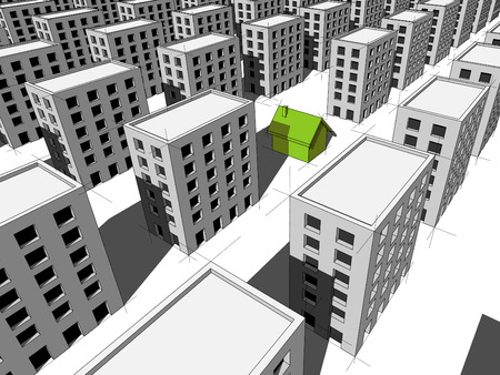 """monotony: green """"ecological"""" house surrounded by many blocks of flats"""