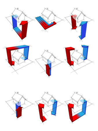 warmte pomp diagrammen Stock Illustratie