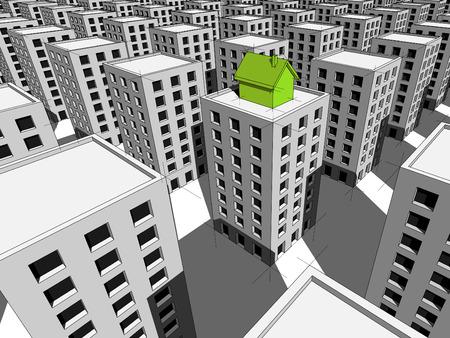 groen huis gebouwd op de top van blok van flats Stock Illustratie