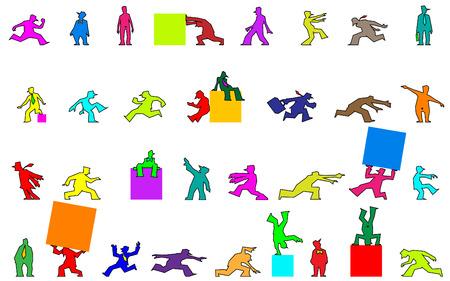 guy standing: a set of funny human cartoon figures