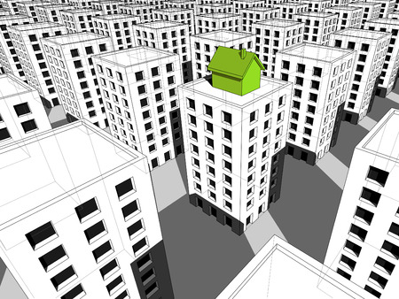 """green """"ecological"""" house built on the top of block of flats,  surrounded by many grey blocks of flats Ilustração"""