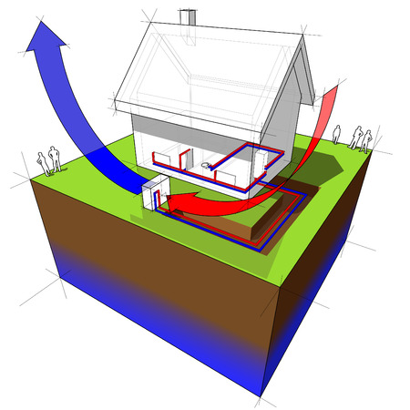 air source heat pump diagram Vector