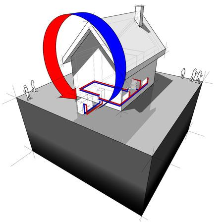 air source heat pump diagram Stock Vector - 8986640