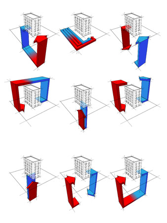 collection of nine heat pump diagrams: on example of a apartment house showing possibilities of usage of heat pump