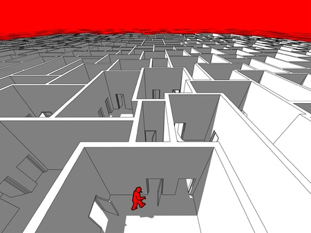 cubical: Lonely man  in endless cubical labyrinth
