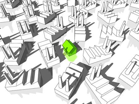 surrounded: casa verde ecologica, circondata da molte fabbriche Vettoriali
