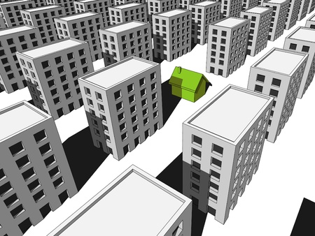 """green """"ecological"""" house surrounded by many blocks of flats"""