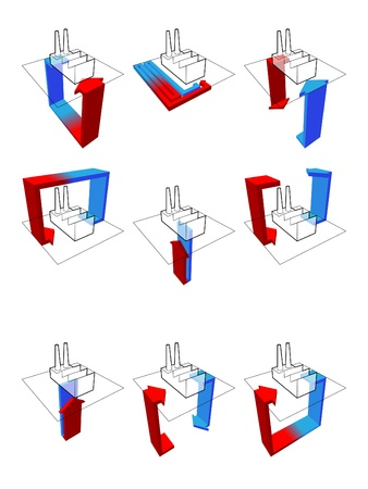 collection of nine heat pump diagrams: on example of a factory showing possibilities of usage of heat pump Stock Vector - 9330117