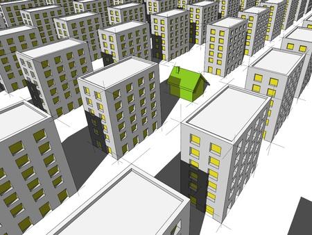 surrounded: casa verde ecologica, circondata da molti blocchi di appartamenti Vettoriali