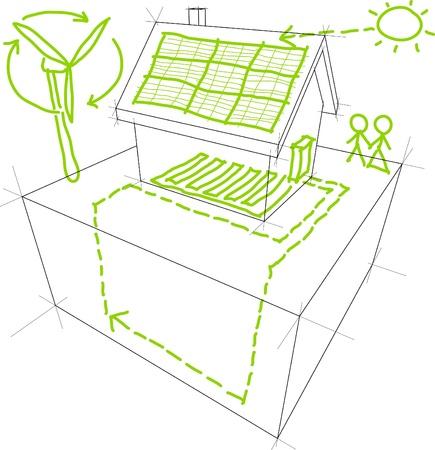 Hernieuwbare energie schetsen Stock Illustratie