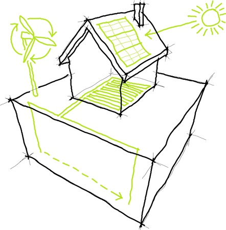 Sketches of sources of renewable energy (wind turbine, solarphotovoltaic panel, heatthermal pump)